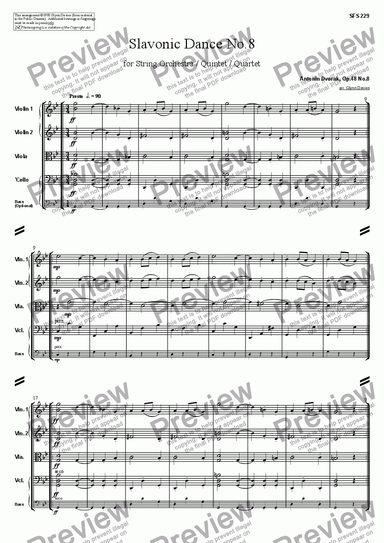 page one of Slavonic Dance, Op.46 No.8