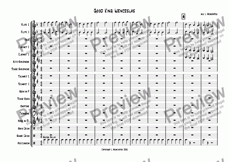 page one of Good King Wenceslas (Very Beginner Wind Band)