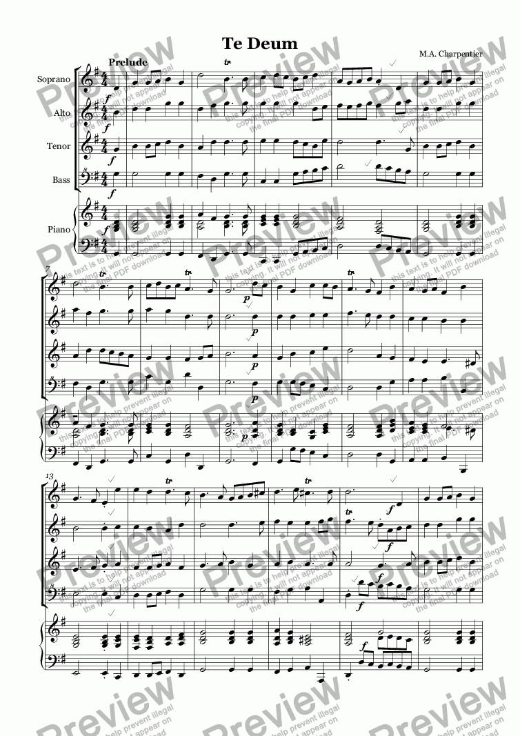 page one of Te Deum (Charpentier)