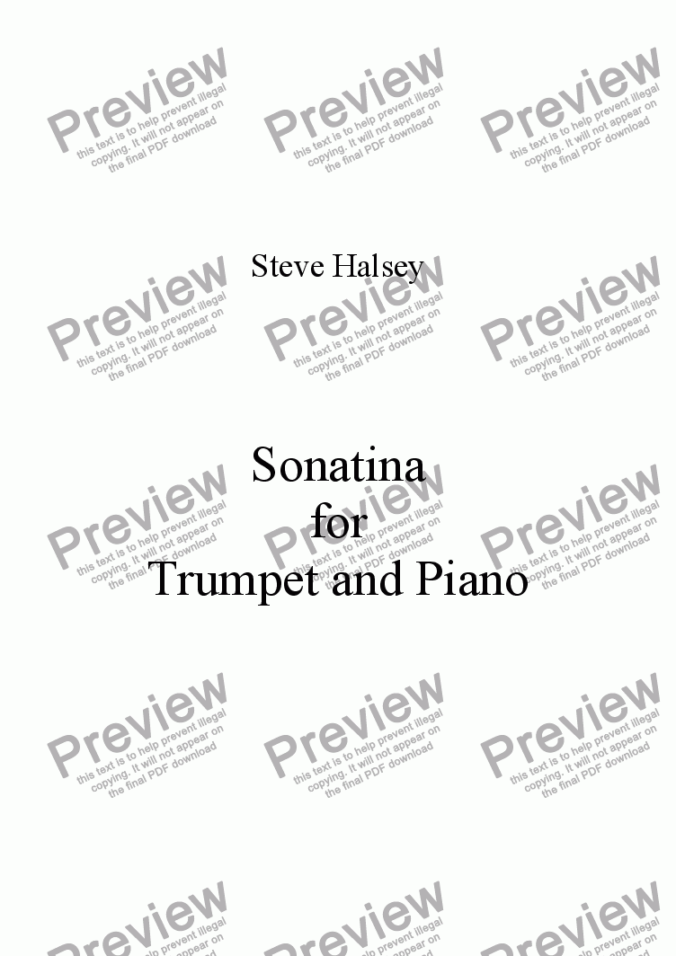 page one of  Sonatina for Trumpet/Cornet and Piano