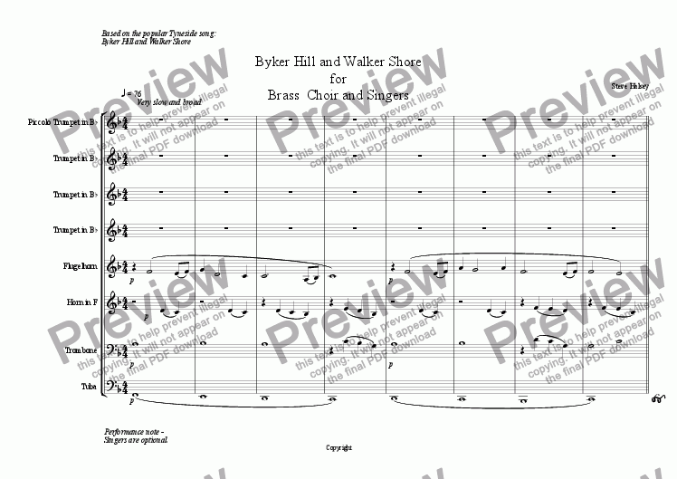page one of Byker Hill and Walker Shore for Brass  Choir and SingersASALTTEXT