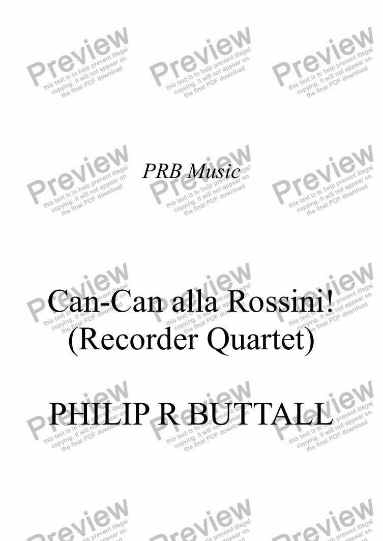 page one of Can-Can alla Rossini! (Recorder Quartet)