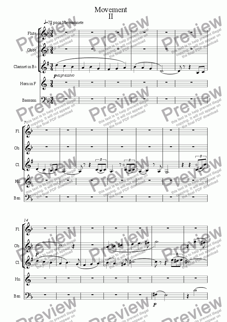 page one of Wind Quintet Mov IIASALTTEXT