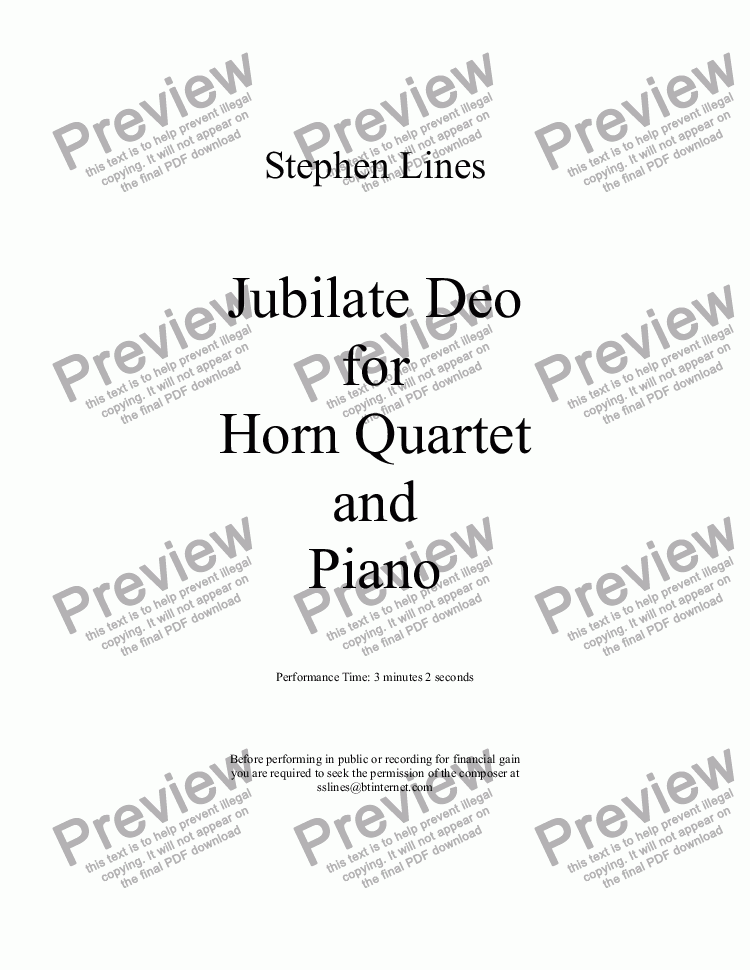 page one of Horn Quartet and Piano: Jubilate DeoASALTTEXT
