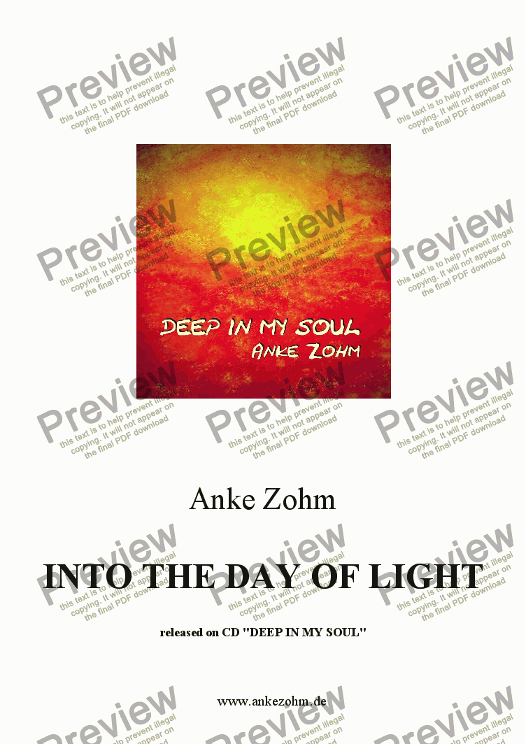 "page one of INTO THE DAY OF LIGHT released on  CD: ""DEEP IN MY SOUL"""