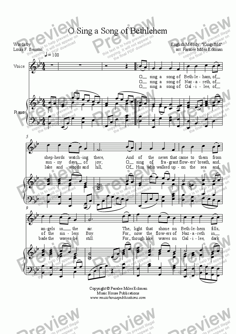 page one of O Sing a Song of BethlehemASALTTEXT