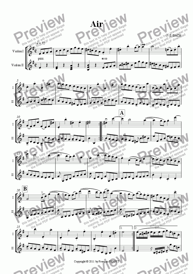 page one of Air for Violin duet by J.-S. BACH