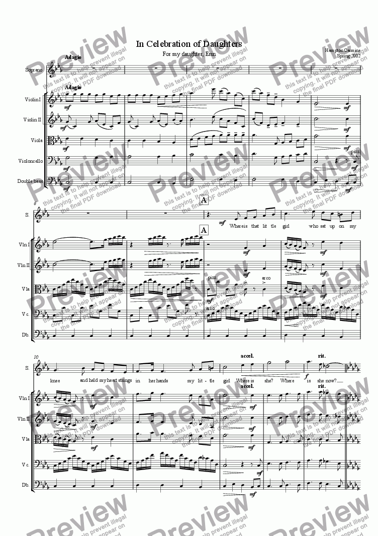page one of In Celebration of Daughters - String Orchestra and Soprano