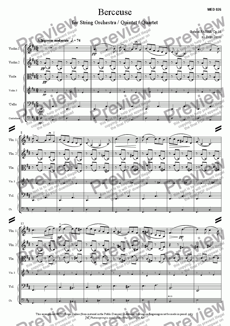 page one of Berceuse, Op.16