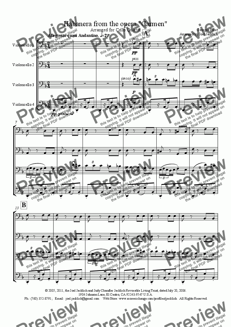 "page one of Habanera from ""Carmen"" for Cello Quartet"