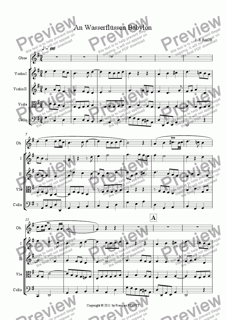 page one of An Wasserflüssen Babylon for Oboe and strings