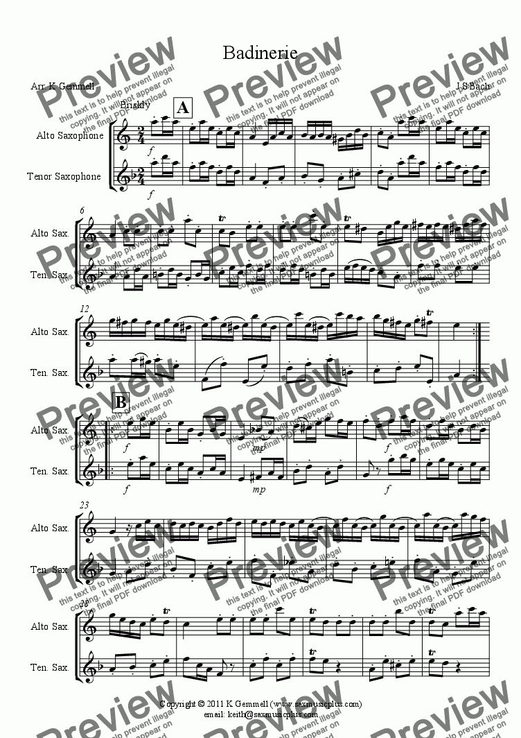 page one of Badinerie – duet for alto & tenor saxophones