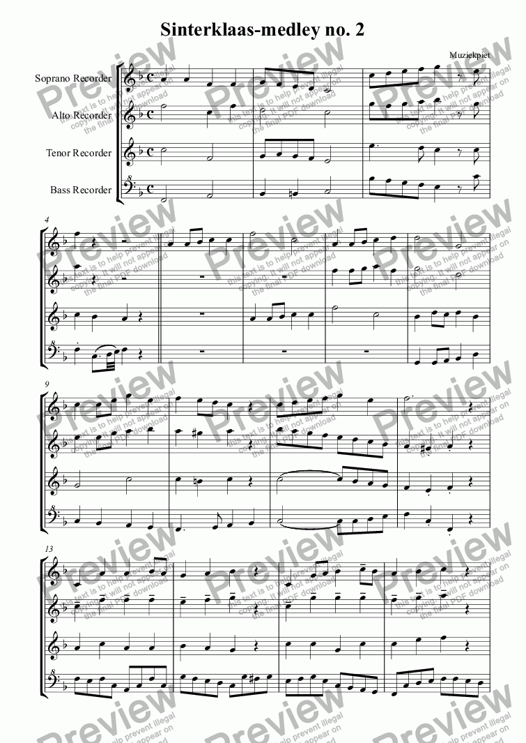 page one of Sinterklaas-medley no. 2 (Zwart)