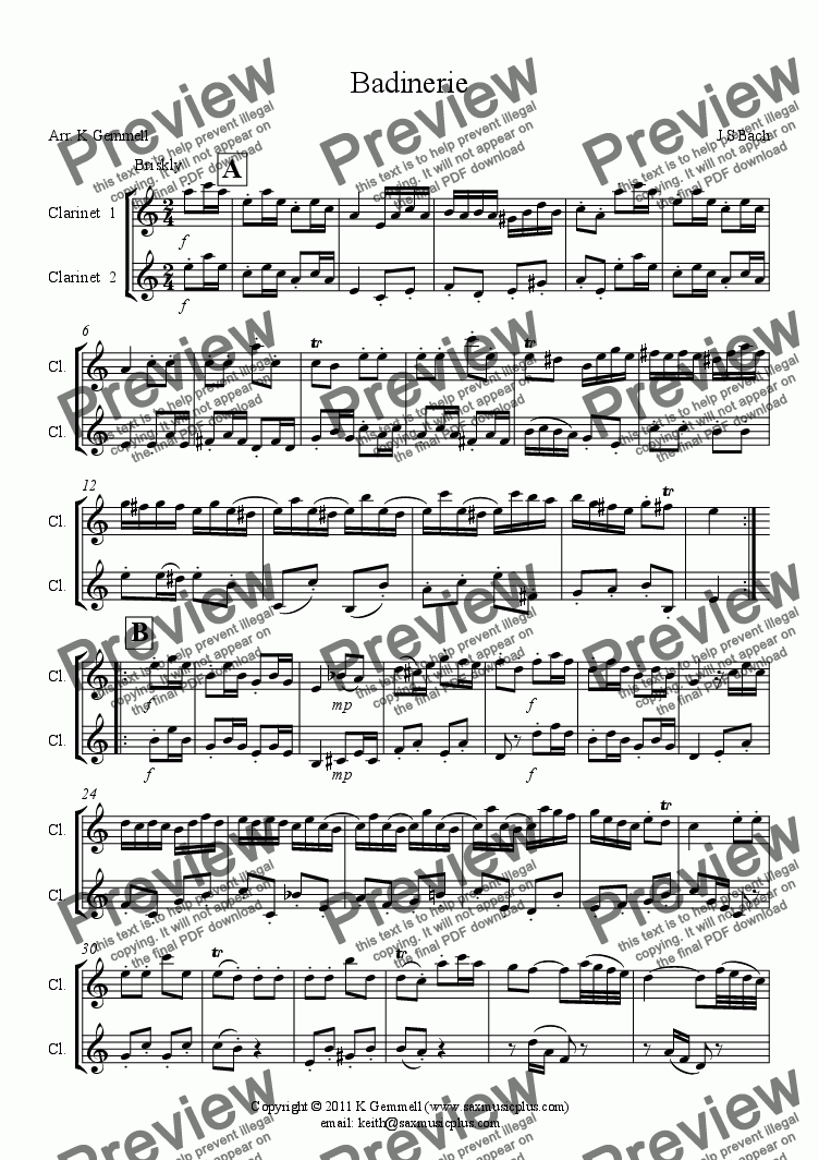 page one of Badinerie – clarinet duetASALTTEXT