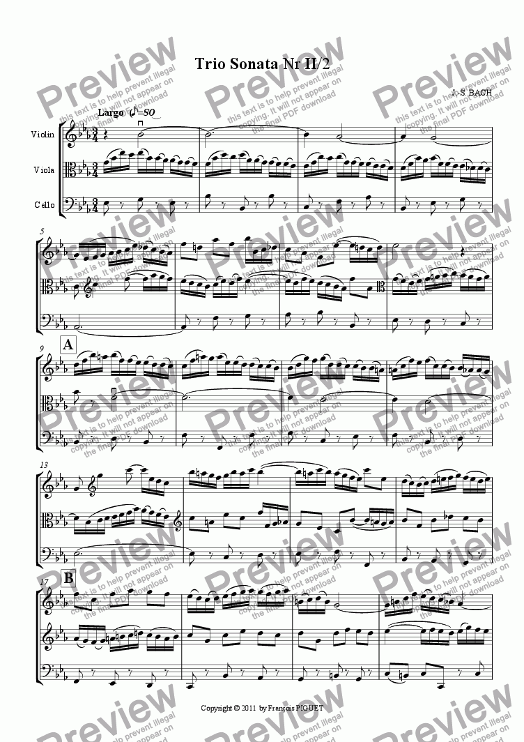 page one of Trio Sonata Nr II/2ASALTTEXT