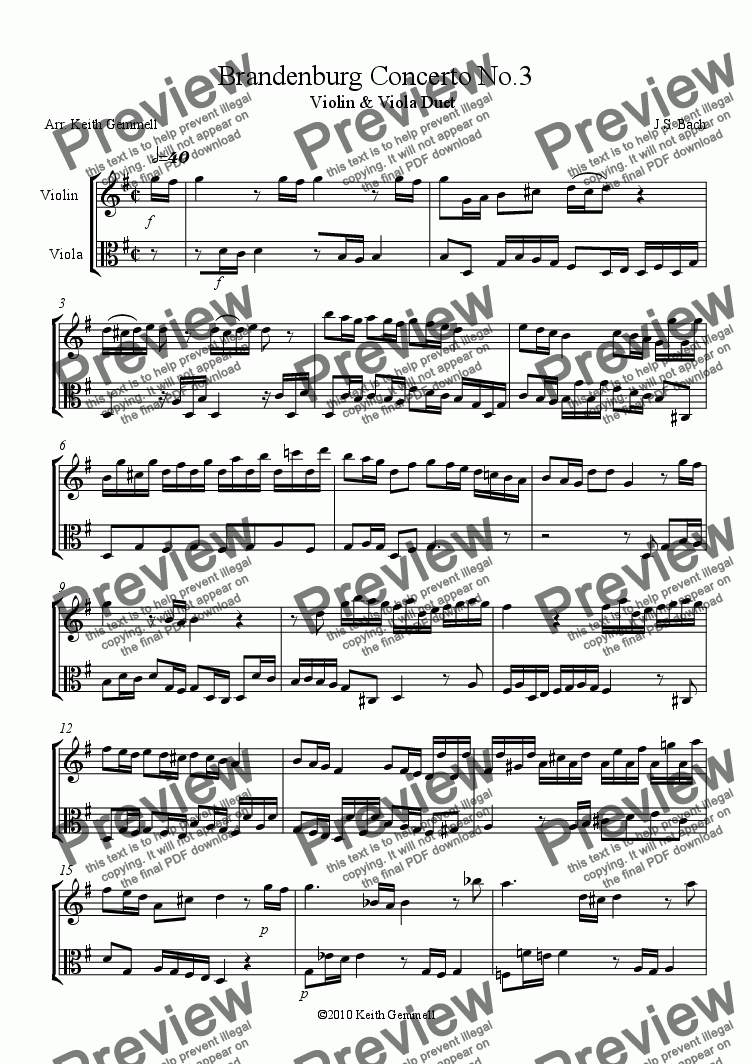 page one of Brandenburg Concerto No.3 – Duet for Violin & Viola