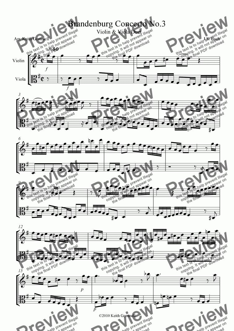 Brandenburg Concerto No 3 – Duet for Violin & Viola for Duet of Solo  Violins by J S  Bach - Sheet Music PDF file to download