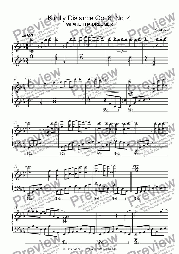 page one of Kindly Distance Op. 8, No. 4