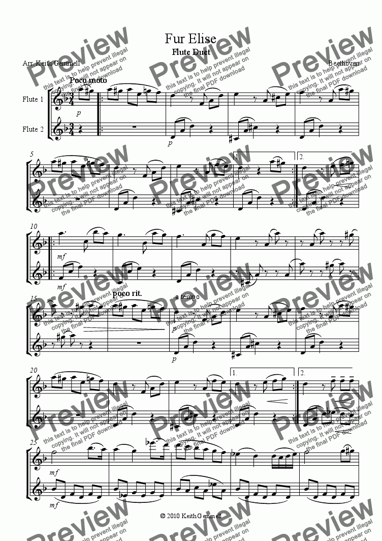 page one of Fur Elise – Flute Duet