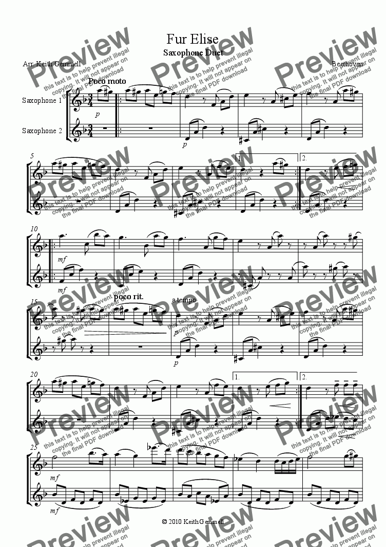 page one of Fur Elise – Saxophone Duet (2 Altos or 2 Tenors)ASALTTEXT
