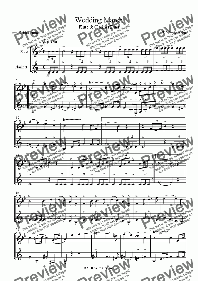 page one of Wedding March – Duet for Flute & ClarinetASALTTEXT