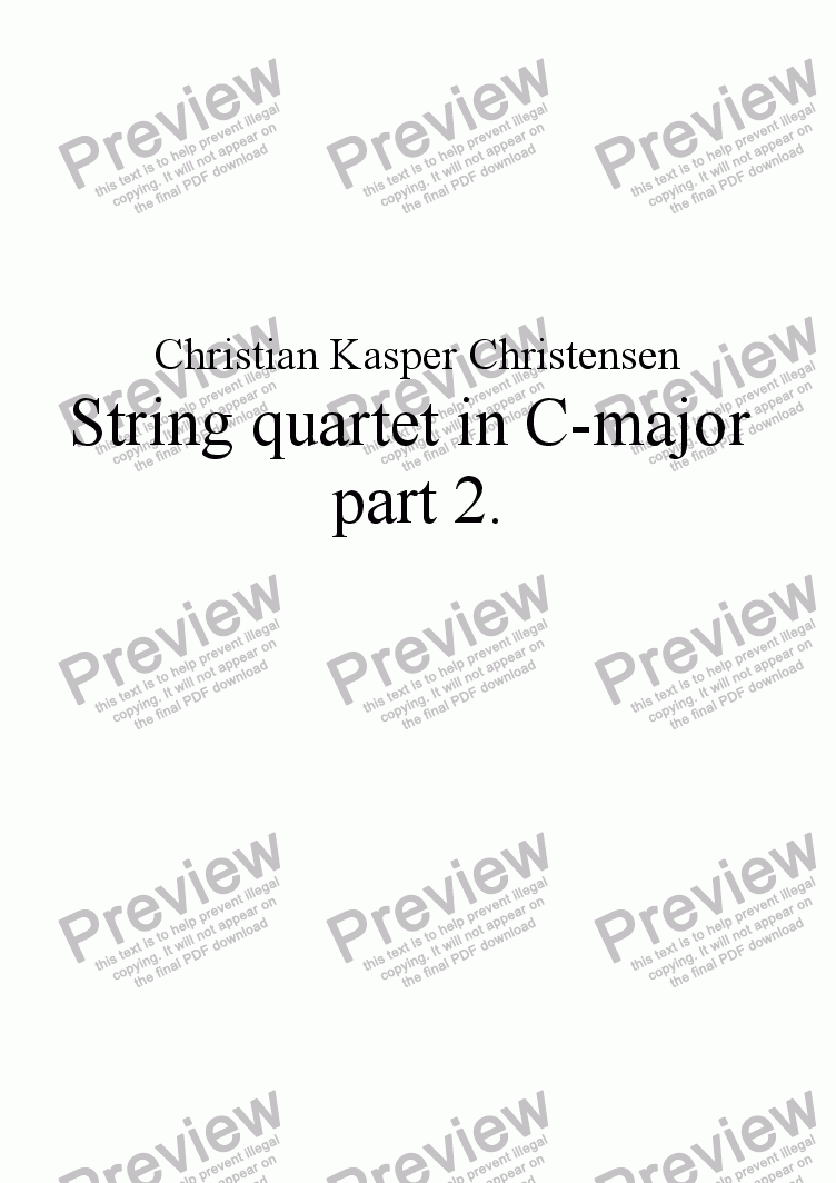 page one of String quartet in C-major part 2.