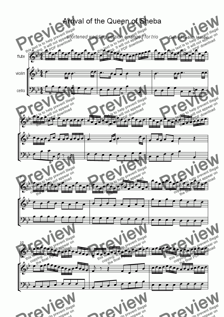 page one of Arrival of the Queen of Sheba-shortened wedding version arranged for flute,violin and cello
