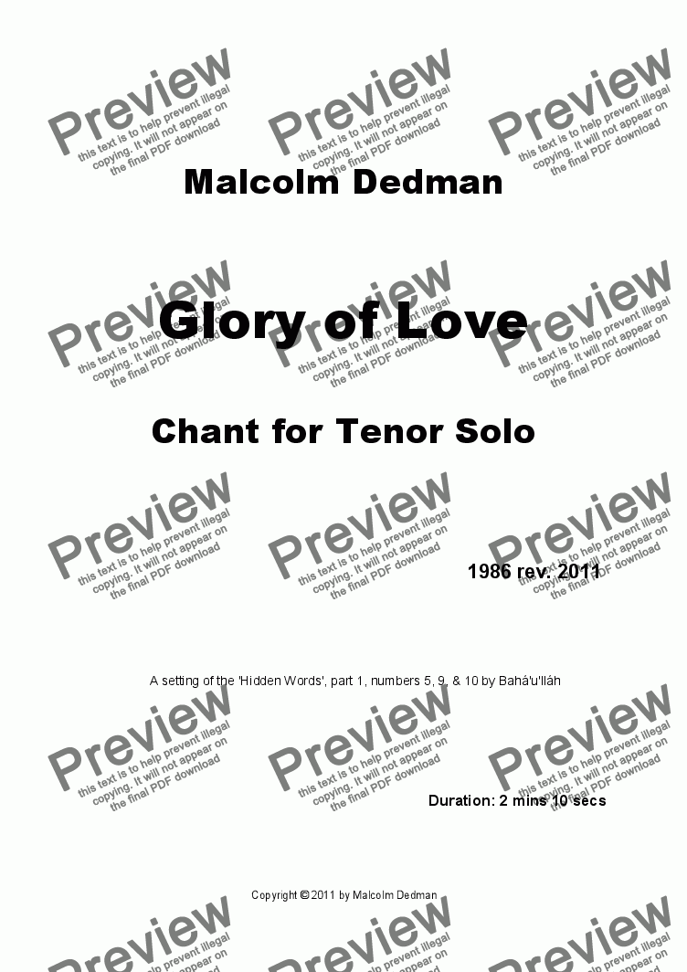 page one of Glory of Love