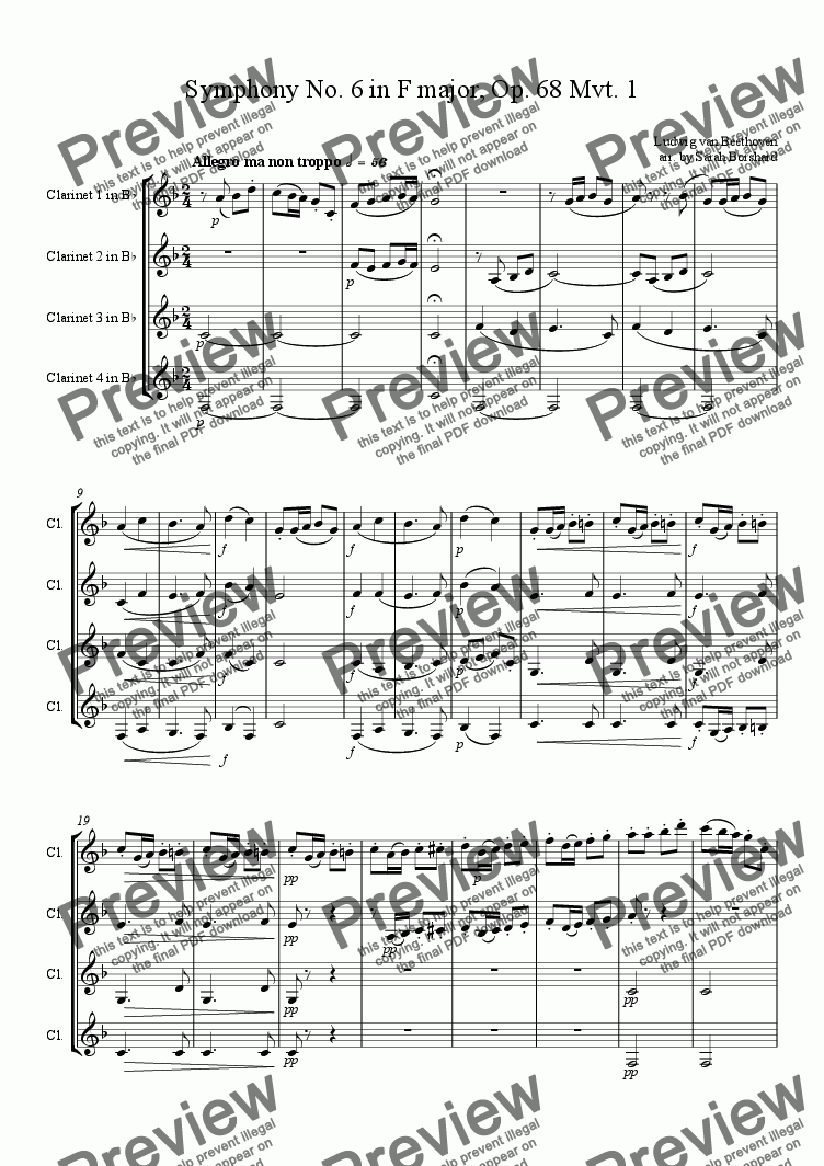 Symphony No  6 in F major, Op  68 Mvt  1 for Quartet of Clarinets in Bb by  Ludwig van Beethoven - Sheet Music PDF file to download