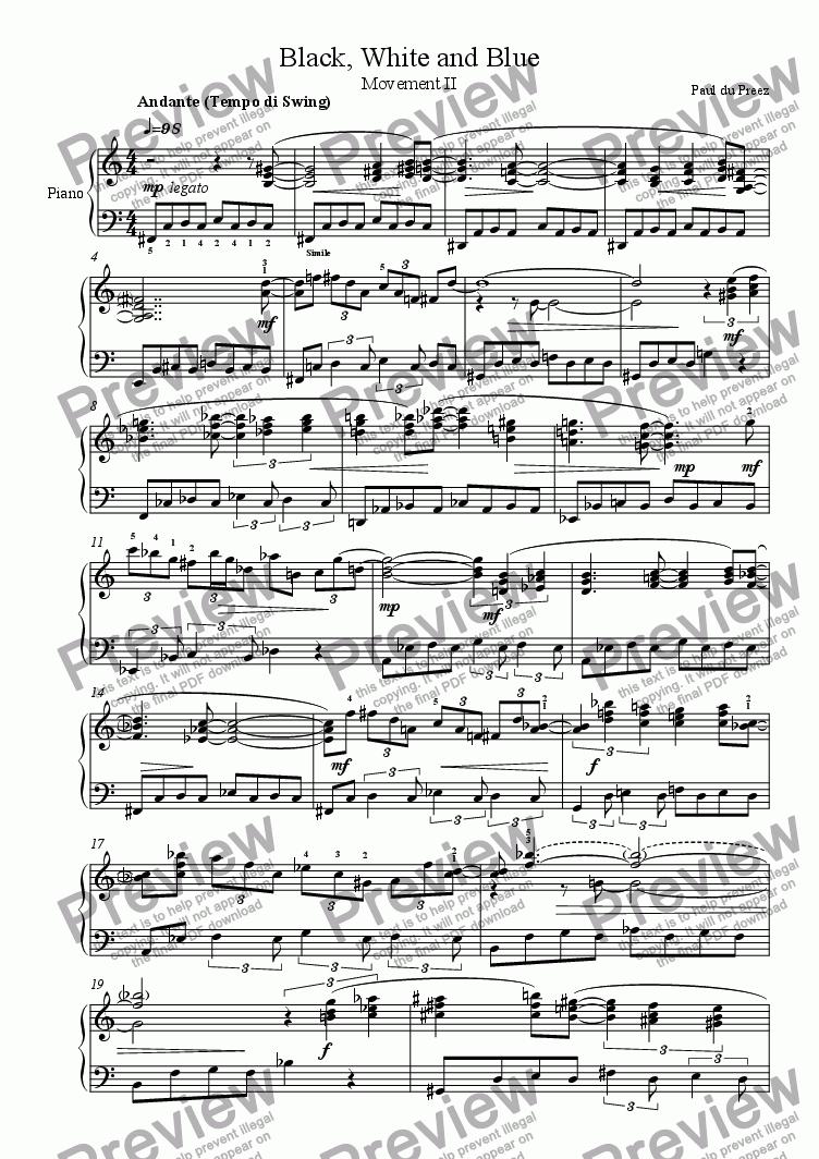 page one of Black, White and Blue II