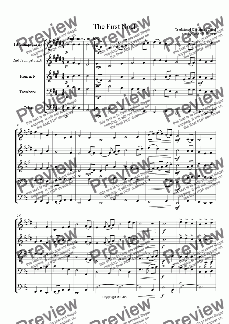 page one of Christmas: The First Noel for Brass Quintet