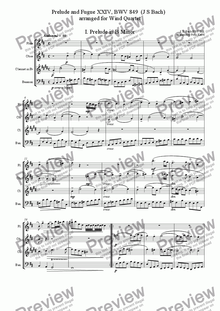 page one of Prelude and Fugue XXIV, BWV 849  (J S Bach)   arranged for Wind Quartet