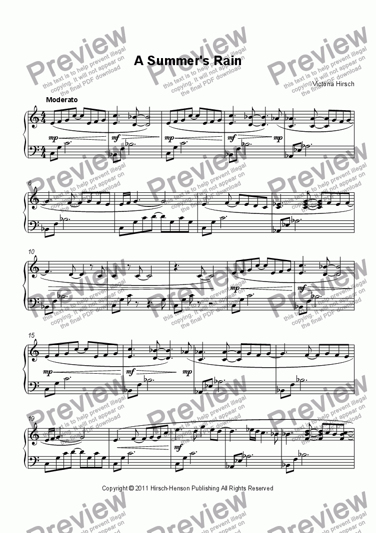 page one of A Summer's Rain for Solo Piano