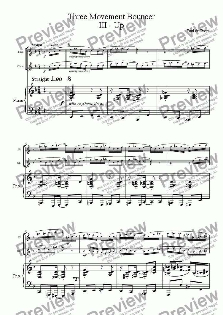 page one of Three-Movement Bouncer III (flute&oboe)