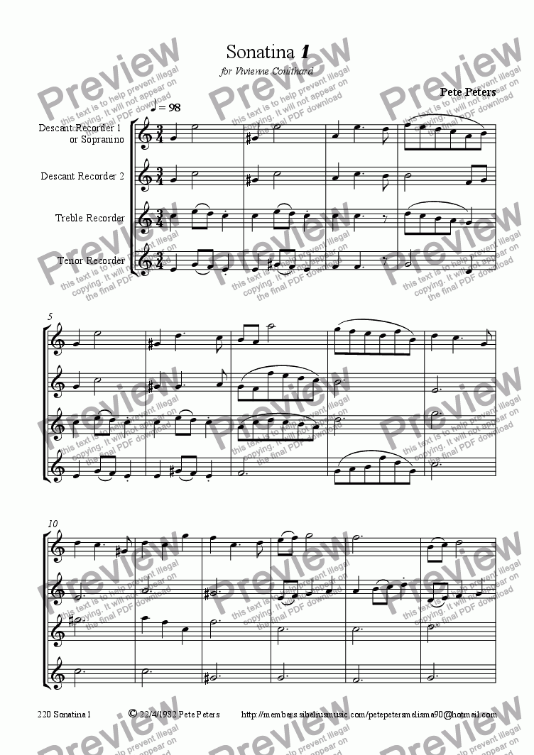 page one of Sonatina 2 (WW 4tet)