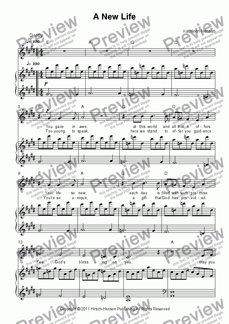 page one of A New Life (A Baptism Song) for Solo Voice w/Piano