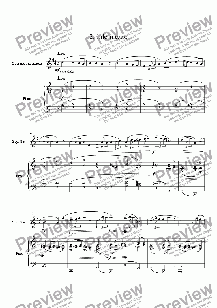 page one of Lyrical Concerto for Soprano Saxophone and Chamber Orchestra (piano reduction) 2: Intermezzo