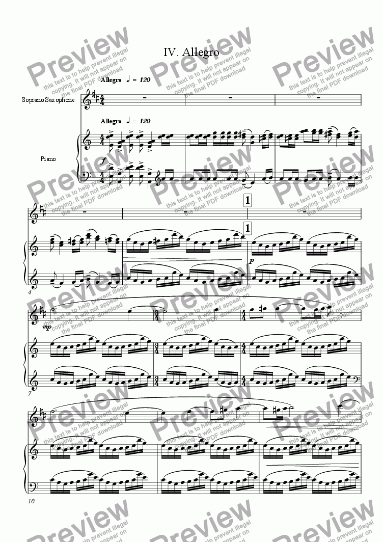 page one of Lyrical Concerto for Soprano Saxophone and Chamber Orchestra (piano reduction) 4: AllegroASALTTEXT