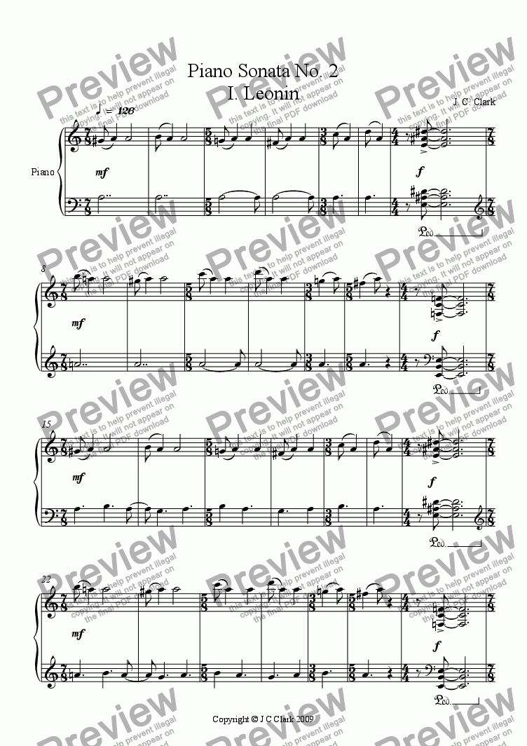page one of Piano Sonata No. 2ASALTTEXT