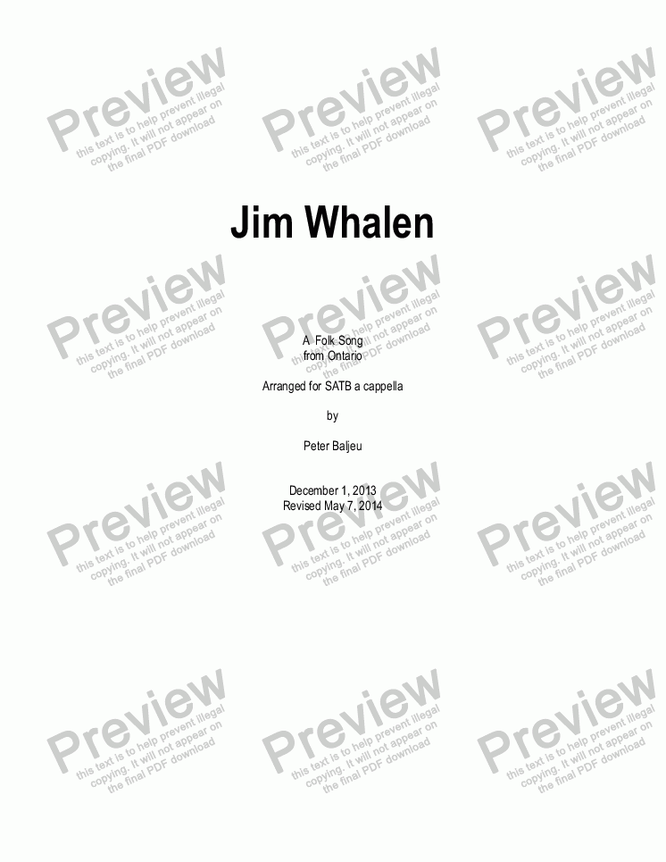 page one of Jim Whalen: a Folk Song from Ontario