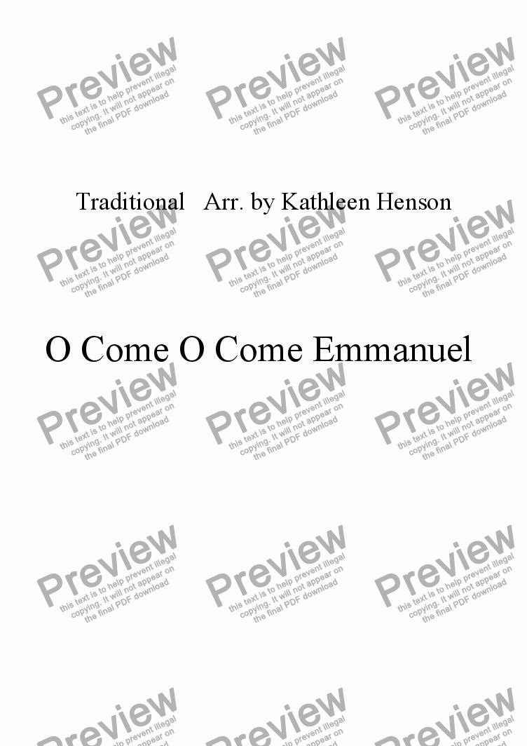 page one of O Come O Come Emmanuel (SAB) w/Piano and opt. Flute