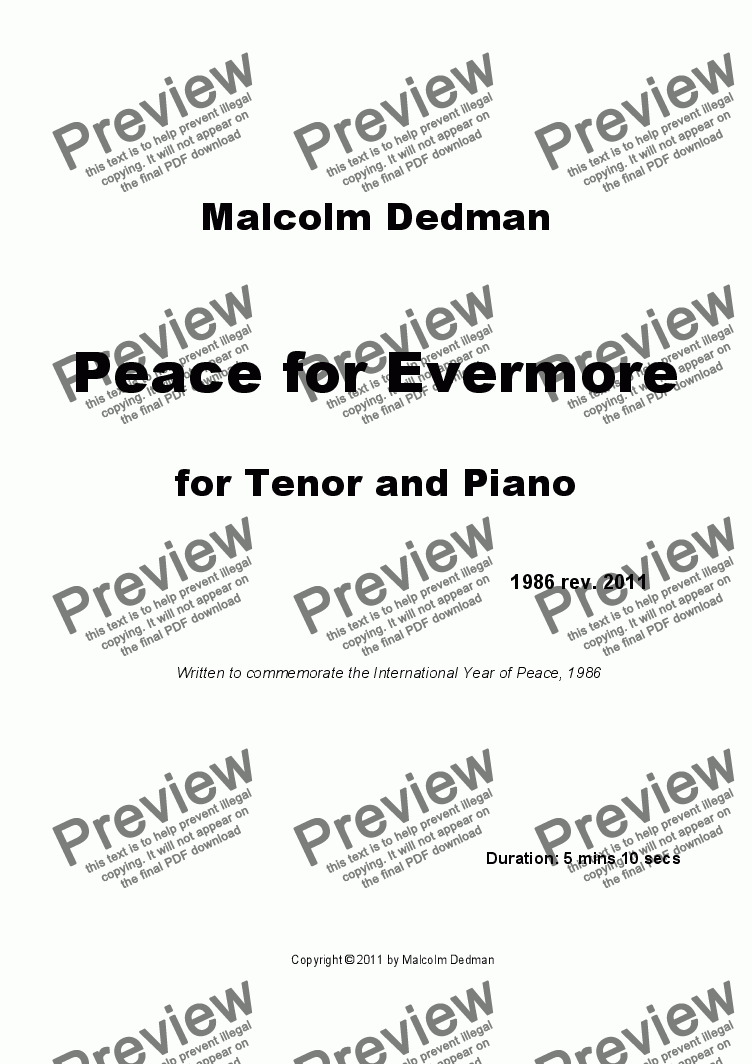 page one of Peace for Evermore