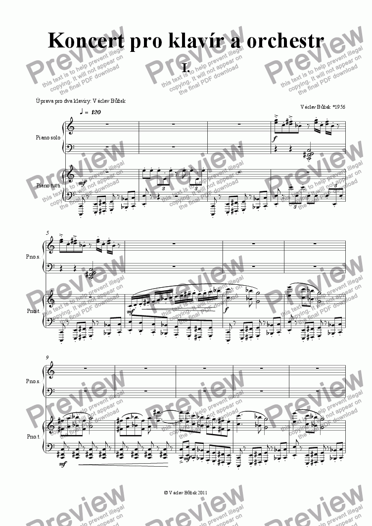 page one of Concert for pianoforte piano reduction