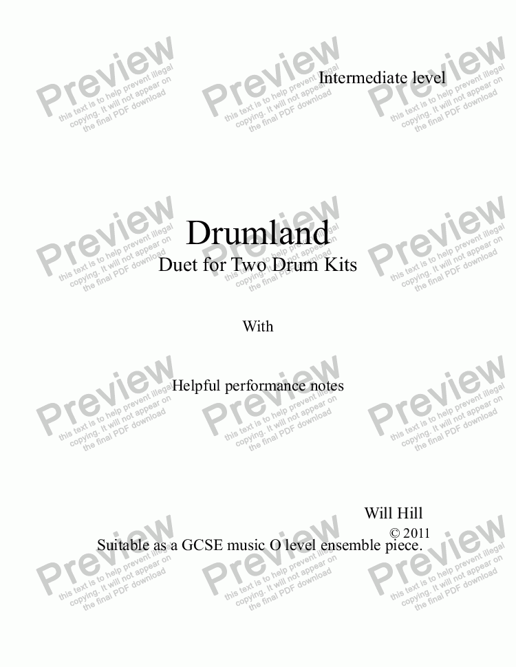 page one of Drumland Duet For Two Drum Kits