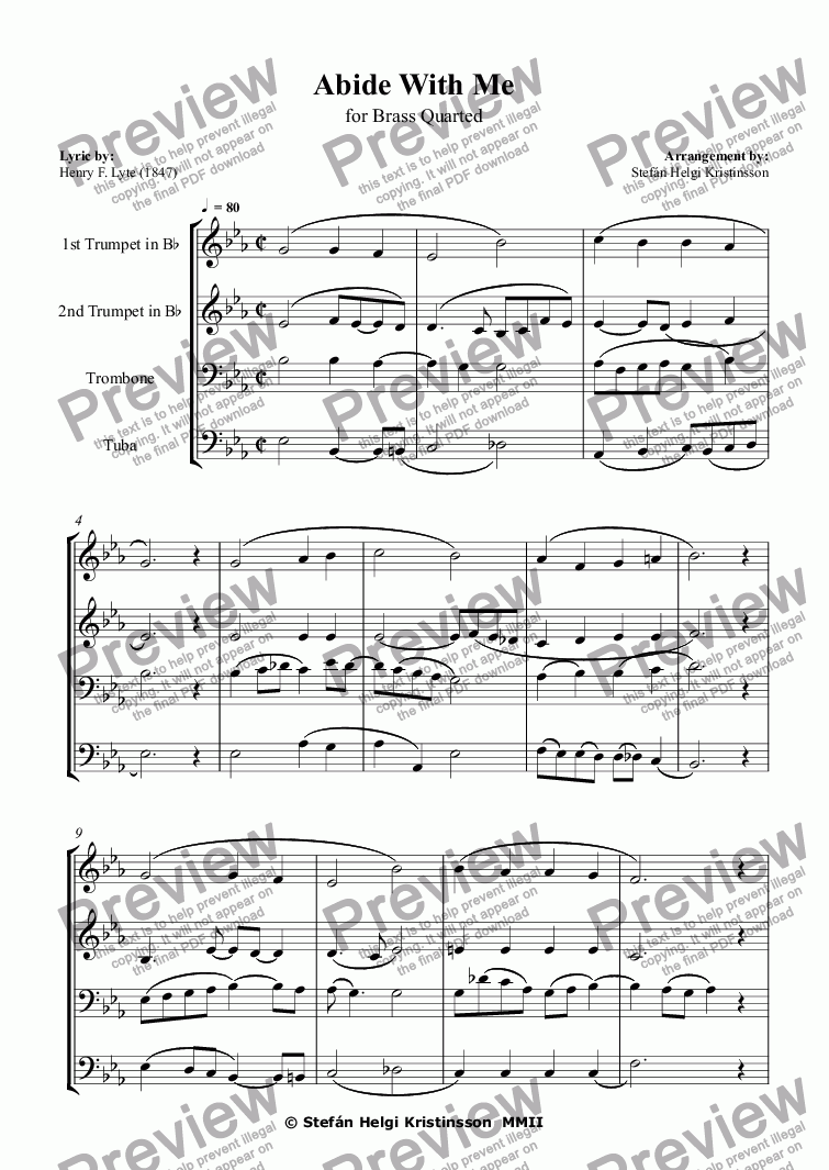 page one of Abide With Me - Brass