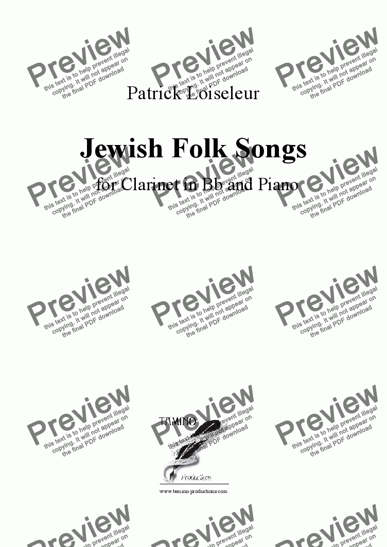 page one of Jewish Folk Songs for Clarinet and PianoASALTTEXT