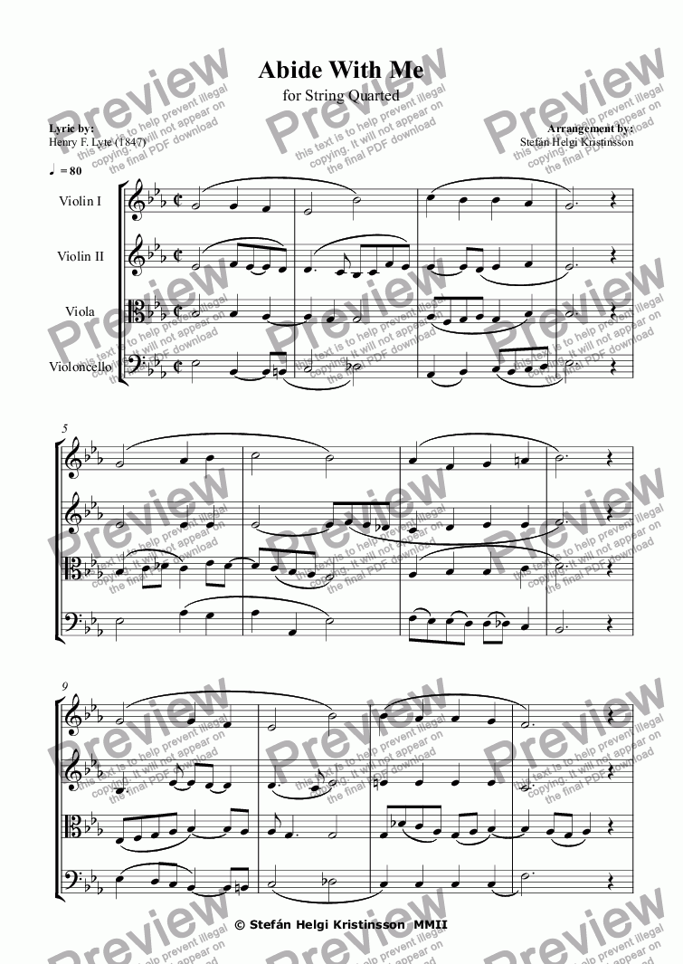 page one of Abide With Me - Strings