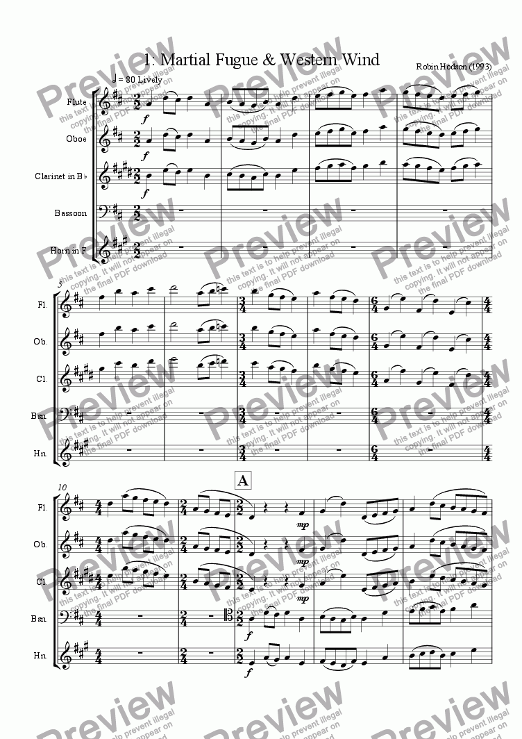 page one of Wind Quintet : 1 - Martial Fugue & Western WindASALTTEXT