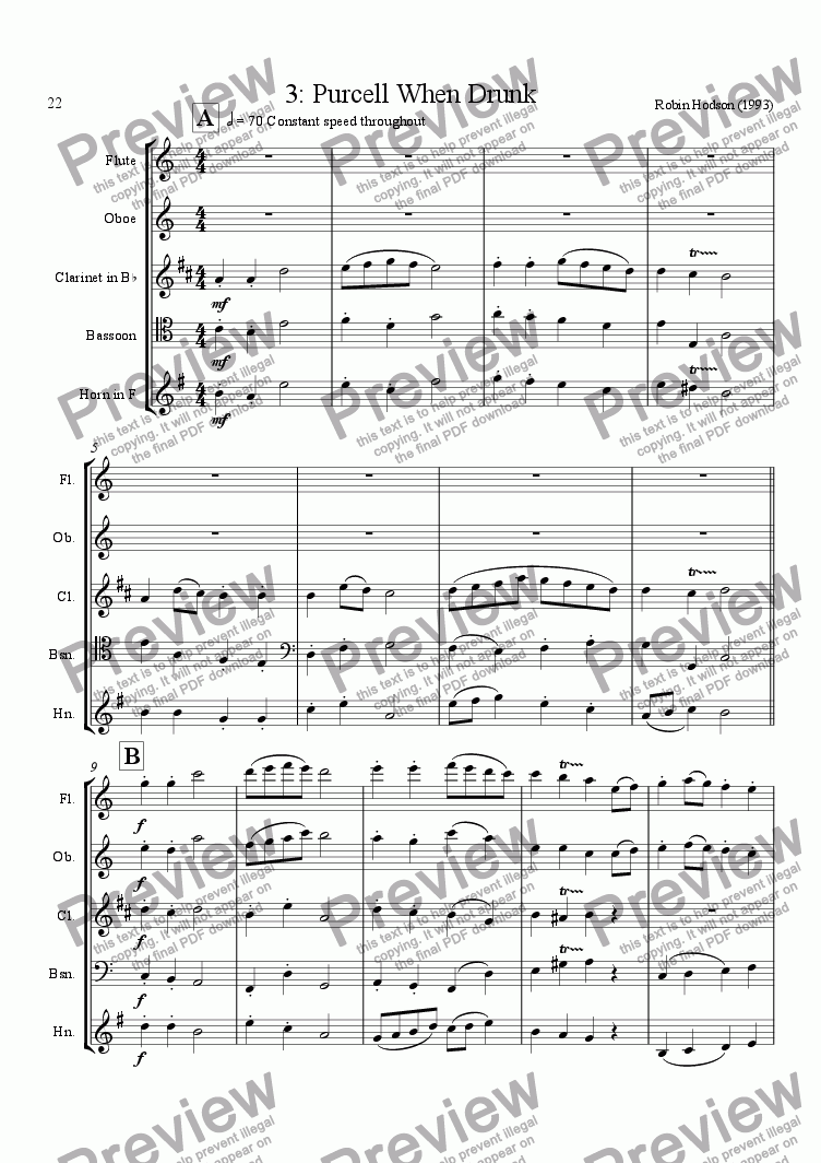 page one of Wind Quintet : 3 - Purcell When Drunk