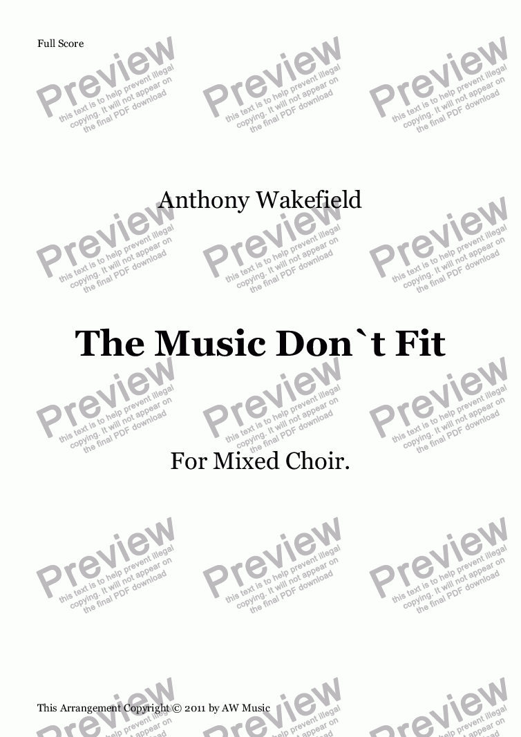 page one of The Music Don`t Fit